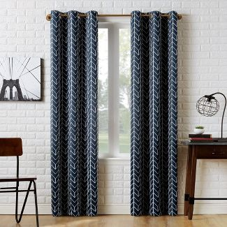 40x84u0022 Kenwood Chevron Blackout Grommet Curtain Panel Navy-Sun Zero