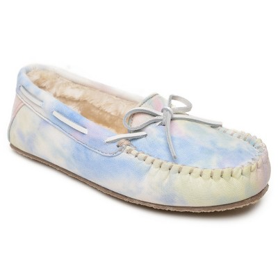 Minnetonka Women's Textile Tie Dye Carrie Slipper 44672, Soft Yellow Multi - 8