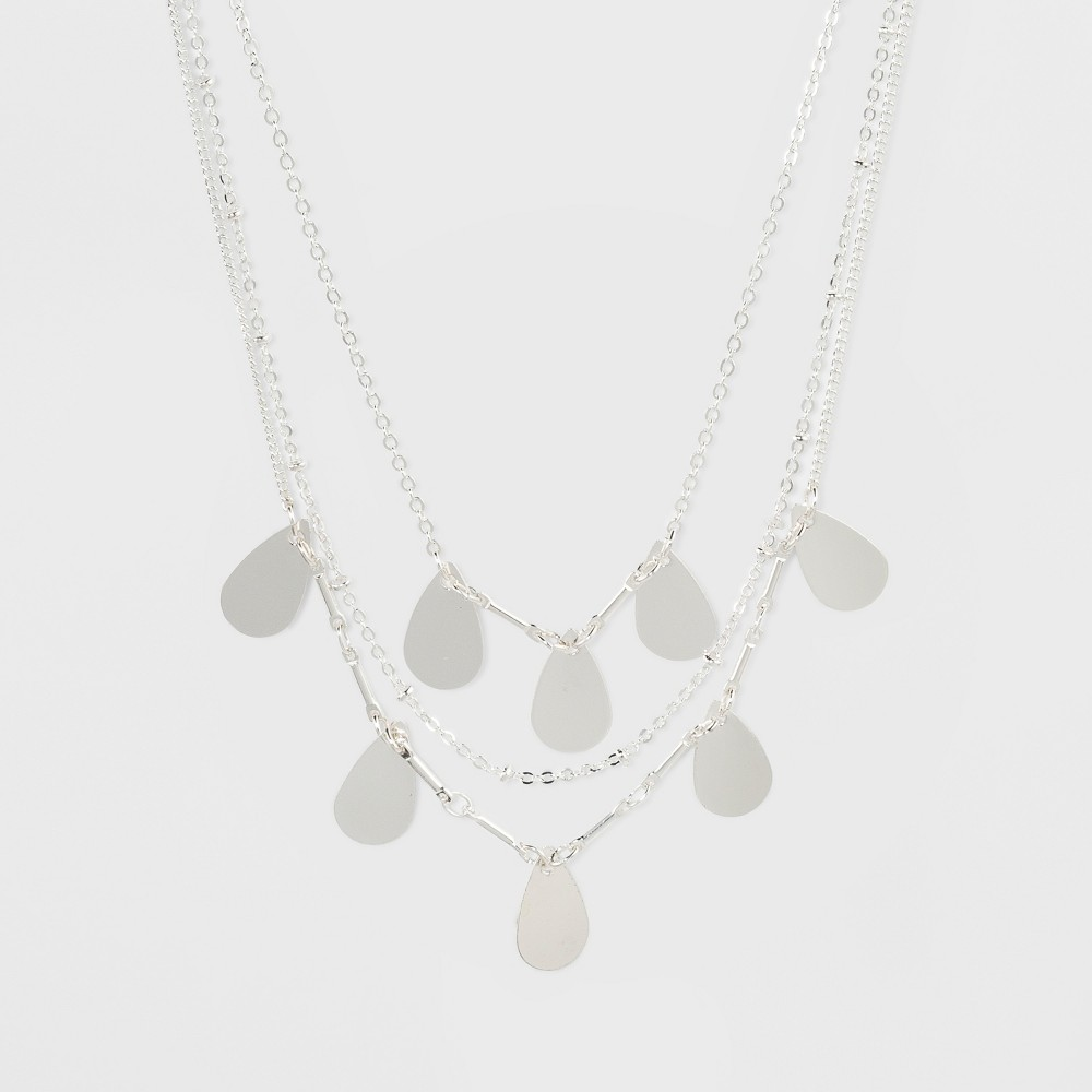 Tear Drop Stampings Choker Necklace - Silver