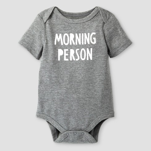 Baby Short Sleeve Morning Person Bodysuit - Cat & Jack™ Gray Newborn - image 1 of 1