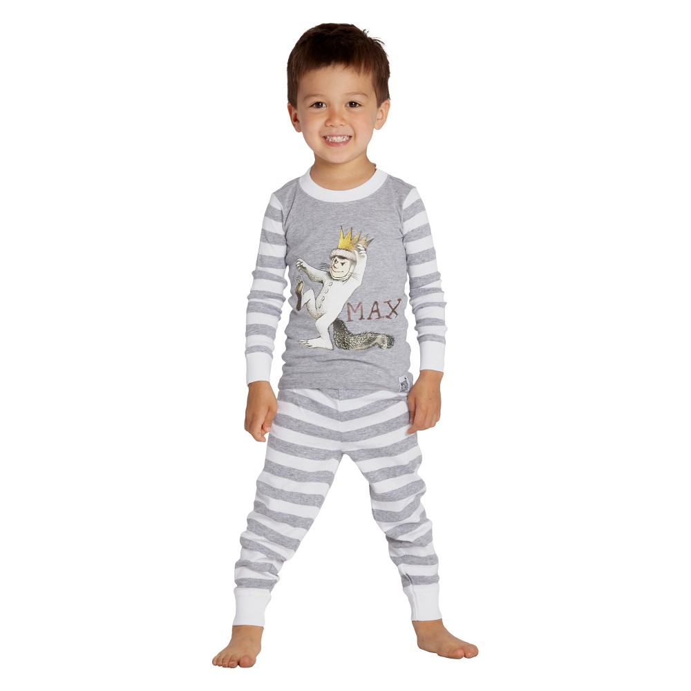 Baby Boys' Where the Wild Things Are Max 2pc Tight Fit Long Sleeve Pajama Set - Gray/White 12M, Multicolored