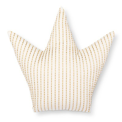 Crown Throw Pillow (15 x15 )Gold & White - Pillowfort™