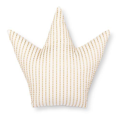 "15""x15"" Crown Throw Pillow Gold/White - Pillowfort™ - image 1 of 3"