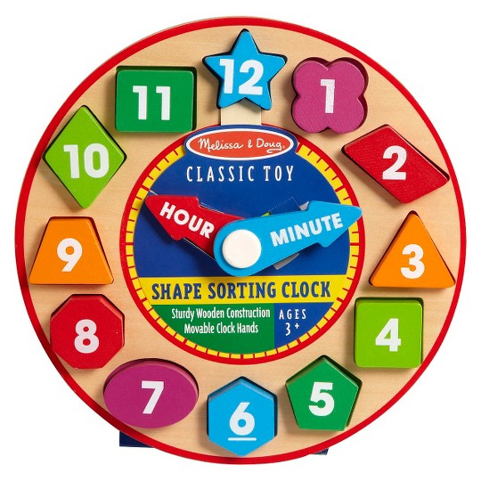Melissa & Doug Shape Sorting Clock - Wooden Educational Toy image number null