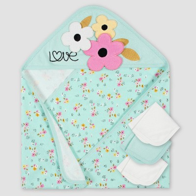 Gerber Baby Girls' 4pc Fox Bath Towel and Washcloth Set - Blue