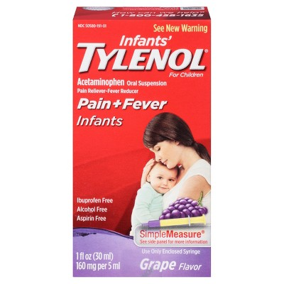 Infants' Tylenol Pain Reliever and Fever Reducer Liquid Drops - Acetaminophen - Grape - 1 fl oz