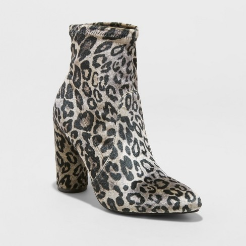 7484ef5fe327 Women's Norma Faux Velvet Leopard Cylinder Heeled Bootie - A New Day™ Brown  8 : Target