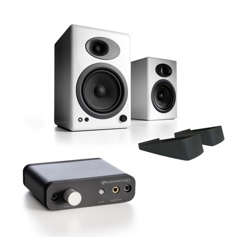 Audioengine A5+ Classic Powered Bookshelf Speakers with Stands and D1 Premium 24-Bit DAC with Headphone Amp - image 1 of 11