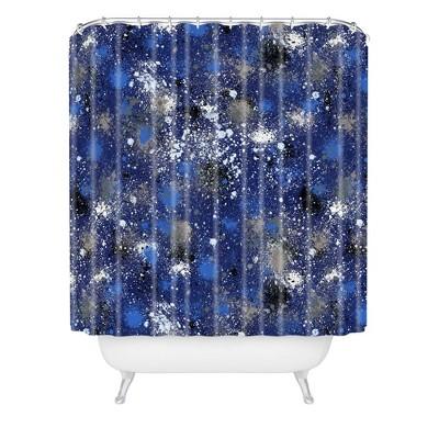 Ninola Design Ink Splatter Night Shower Curtain Blue - Deny Designs