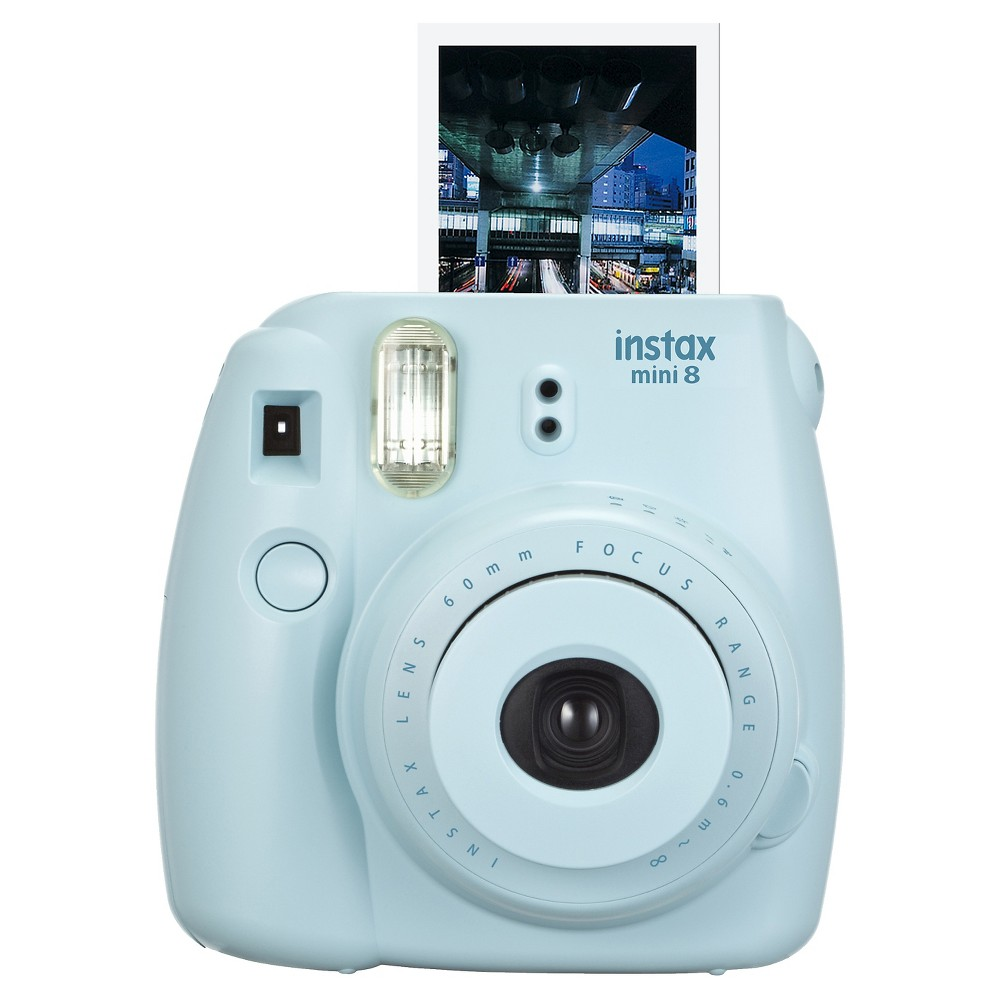 Fujifilm Instax Mini 8 Blue Camera Take snapshots that you'll want to keep forever with the Fujifilm Instax Mini 8 Blue Camera. The Fujifilm camera features a lens, flash and batteries to help capture your fun and clever photos. Fujifilm instant film sold separately.