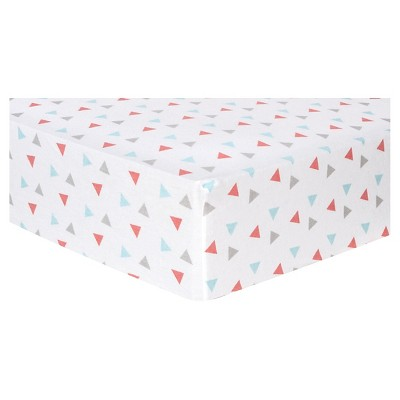 Trend Lab Deluxe Flannel Fitted Crib Sheet - Coral Triangles