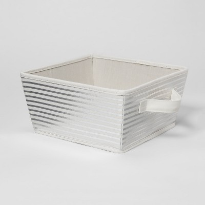 Large Striped Fabric Toy Storage Bin Silver - Pillowfort™