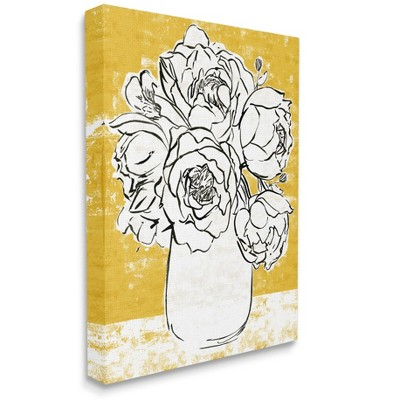 Stupell Industries Peony Sketch Bouquet Contrasted Distressed Yellow