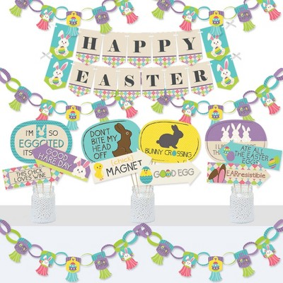 Big Dot of Happiness Hippity Hoppity - Banner and Photo Booth Decorations - Easter Bunny Party Supplies Kit - Doterrific Bundle