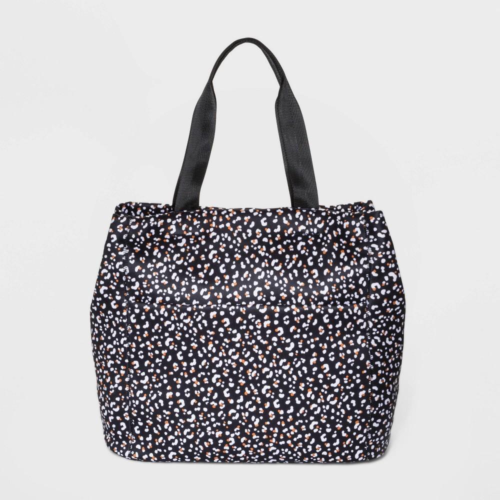 Leopard Print Zip Closure Tote Handbag - Shade & Shore Black