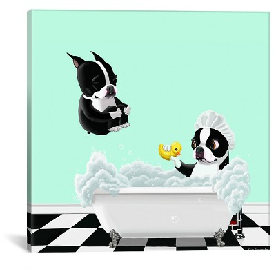 Bath Time by Brian Rubenacker Canvas Print (18 x 18 )