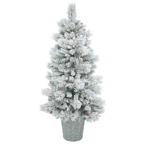 5ft Pre-Lit Artificial Christmas Tree Slim Potted Flocked Ashton Pine - with 150 Clear Lights - image 1 of 2