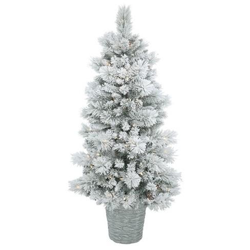 5ft Pre-Lit LED Artificial Christmas Tree Slim Potted Flocked Ashton ...