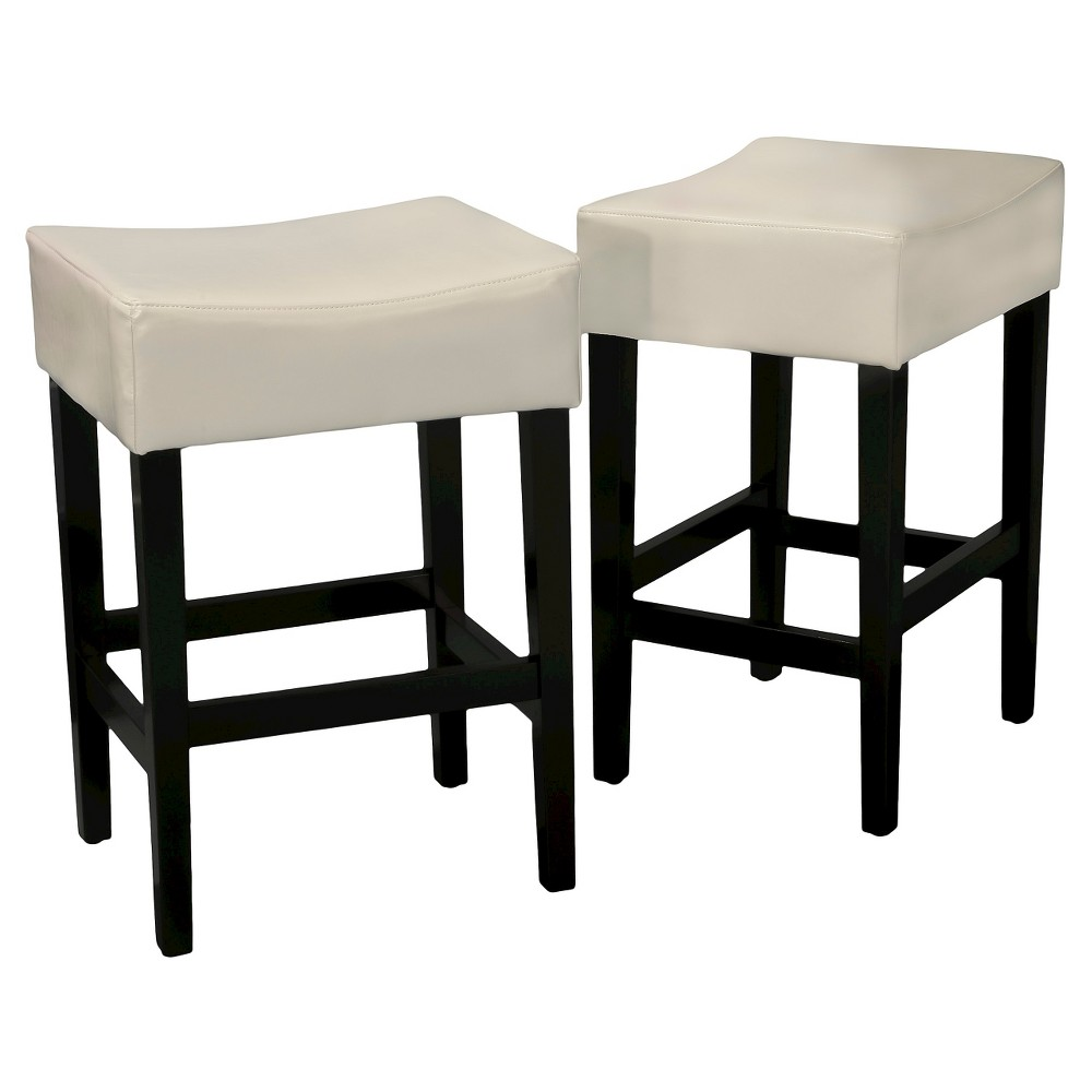 25.5 Lopez Backless Leather Counter Stool - Ivory (Set of 2) - Christopher Knight Home