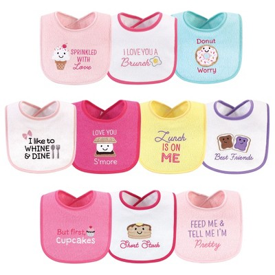 Hudson Baby Infant Girl Cotton Terry Drooler Bibs with Fiber Filling 10pk, Girl Ice Cream, One Size