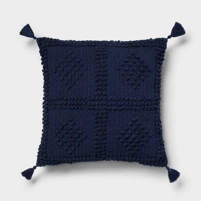 Square Textured Throw Pillow Navy - Threshold™
