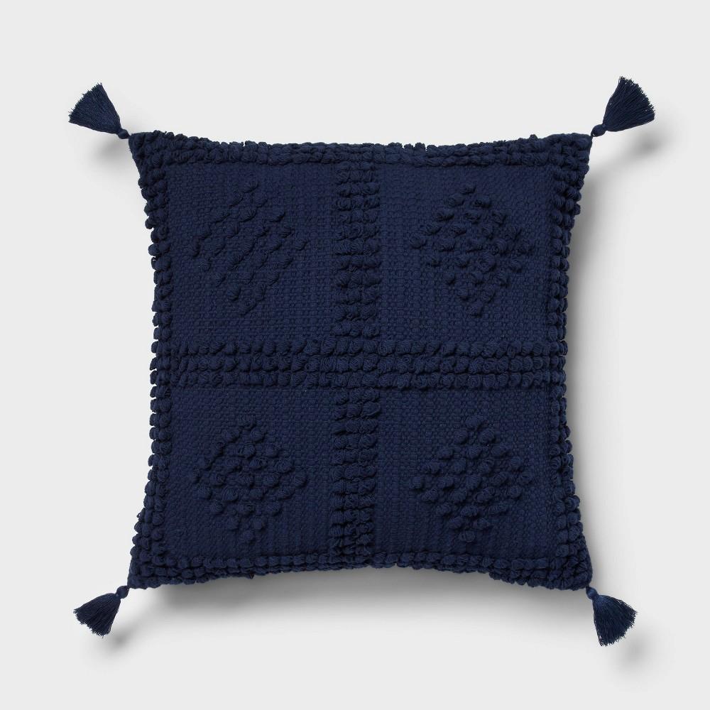 Square Textured Throw Pillow Navy Threshold 8482