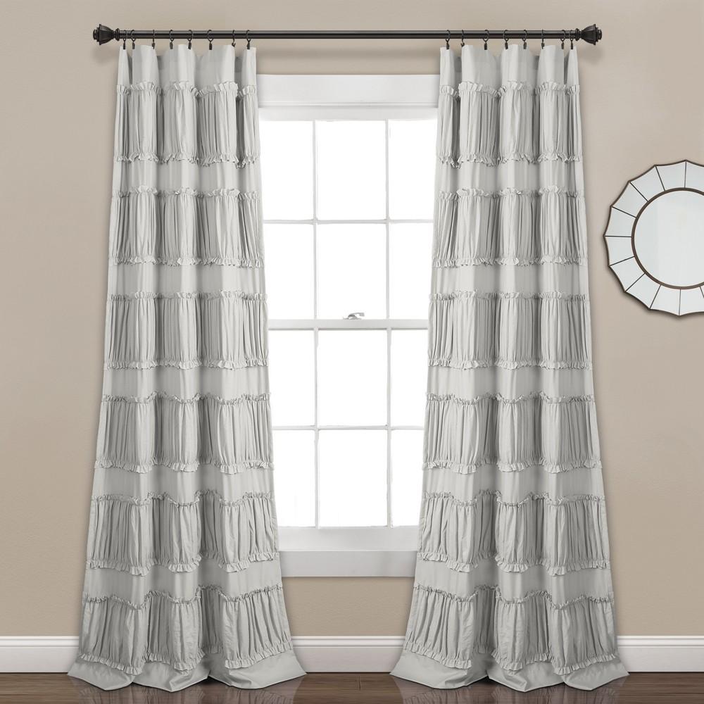 "Set of 2 (84""x42"") Nova Ruffle Light Filtering Curtain Panels Gray - Lush Décor"