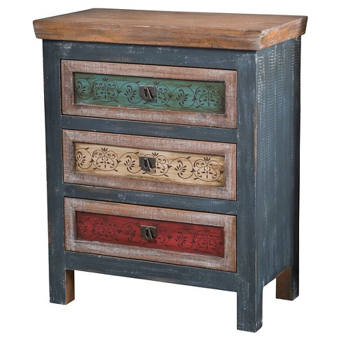 Everest Three-Drawer Cabinet Blue/Teal/Brown - Christopher Knight Home - image 1 of 5