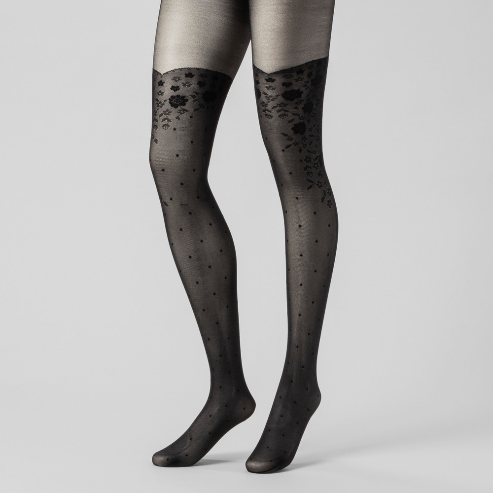 Women's Floral Print with Dots Tights - A New Day Black M/L