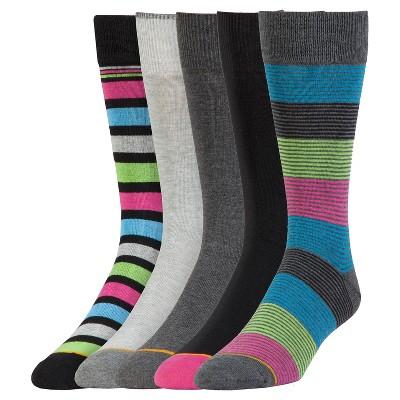 Signature Gold by Goldtoe® Men's 5pk Mini Stripe Value Pack Socks - Gray 6-12