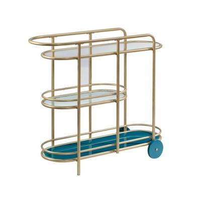 Coral Cape Bar Cart with Metal and Glass Satin Gold - Sauder