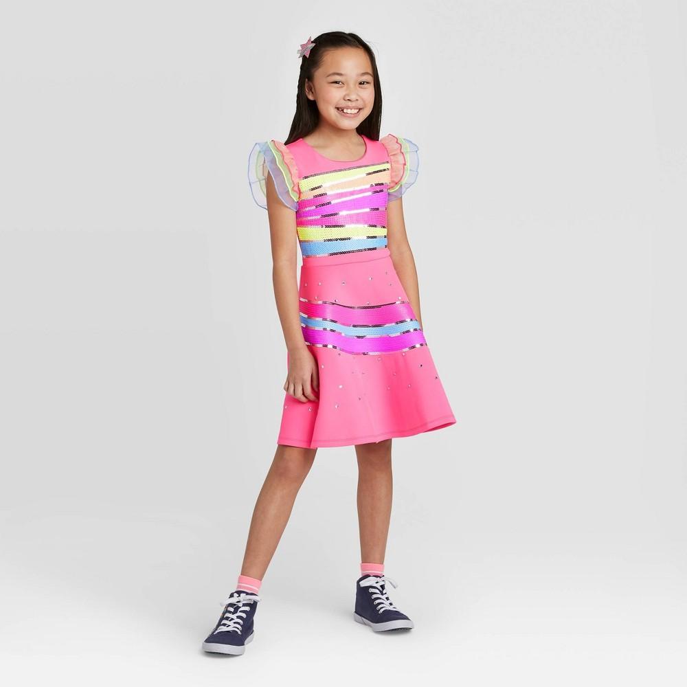 Image of Girls' JoJo's Closet Asymmetrical Striped Dress - Pink L, Girl's, Size: Large