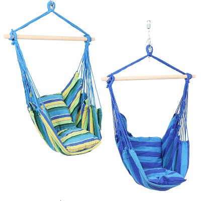 Sunnydaze Double Cushion Hanging Rope Hammock Chair Swing for Backyard and Patio - Ocean Breeze/Oasis - 2-Pack