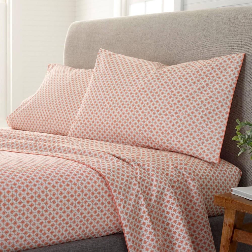 King Comfort Wash Printed Pattern Sheet Set Orange Starburst Ecopure