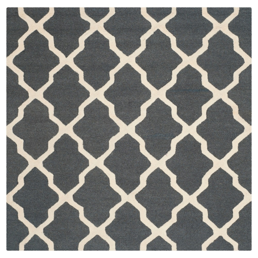 8 X8 Geometric Area Rug Dark Gray Ivory Safavieh