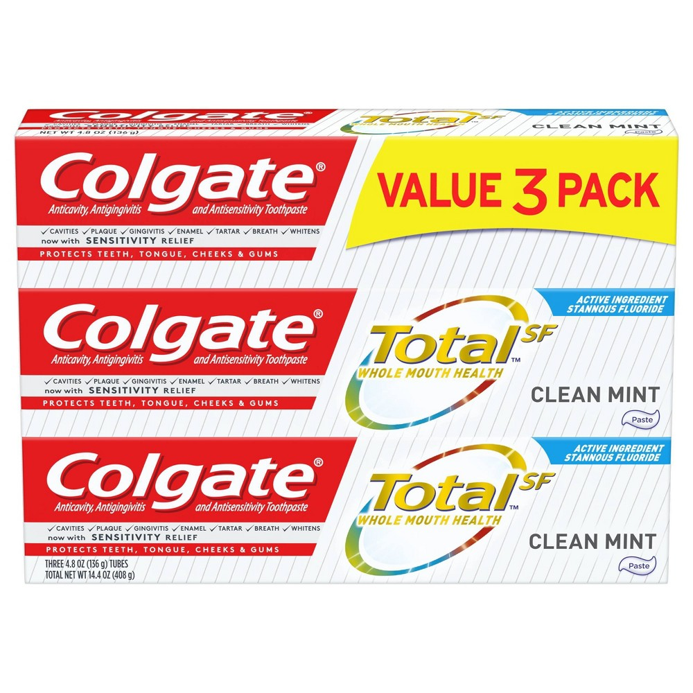 Image of Colgate Total Toothpaste - Clean Mint - 4.8oz/3pk