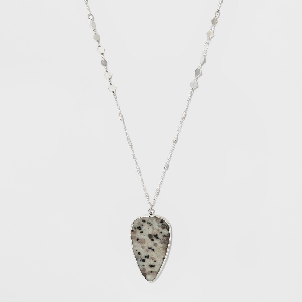 Semi Precious Triangular Stone on Beaded Chain Pendant Necklace - Universal Thread Dark Gray, Dark Grey