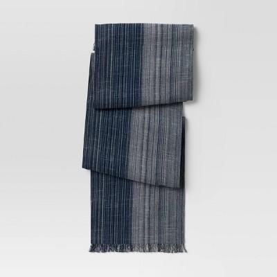 "72"" x 14"" Cotton Striped Table Runner Blue - Threshold™"