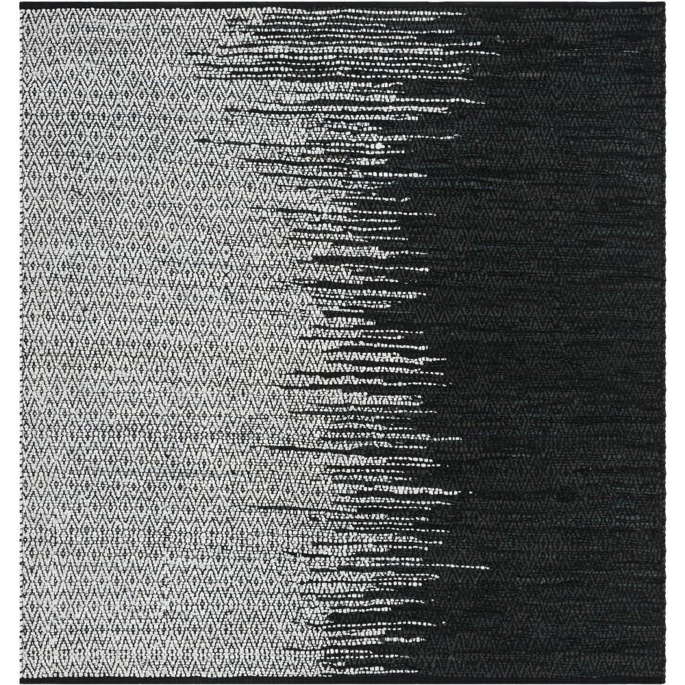 6X6 Geometric Woven Square Area Rug Light Gray/Black - Safavieh Coupons