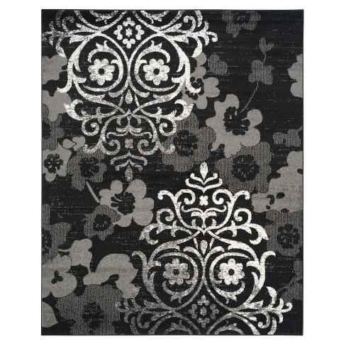 Black Silver Swirl Loomed Area Rug 10 X14 Safavieh