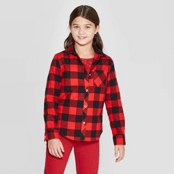 Girls' Woven Button-Down Shirt - Cat & Jack™ Red Plaid