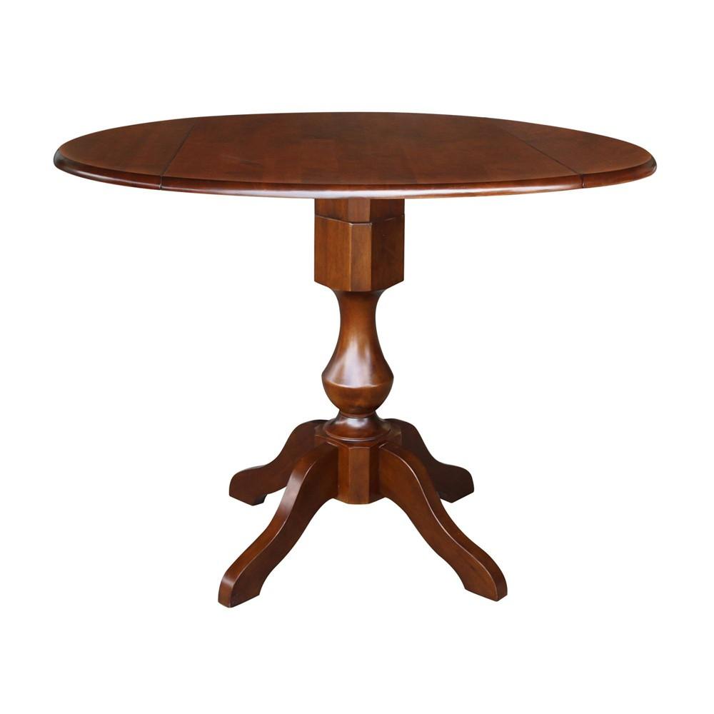 36.3 Dinah Round Top Dual Drop Leaf Pedestal Table Espresso Brown - International Concepts
