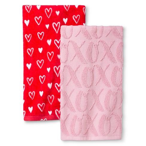 Valentine S Terry Kitchen Towel 2 Pk Red Pink Target