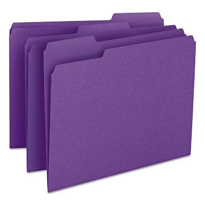 Smead File Folders 1/3 Cut Top Tab Letter Purple 100/Box 13043