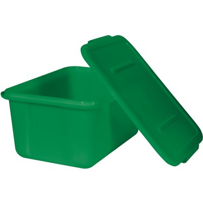 School Smart Storage Tote with Snaptite Lid, 7-1/2 x 11-3/4 x 15-1/2 Inches, Green