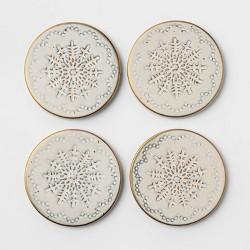 4pk Terracotta Snowflake Coasters White - Threshold™