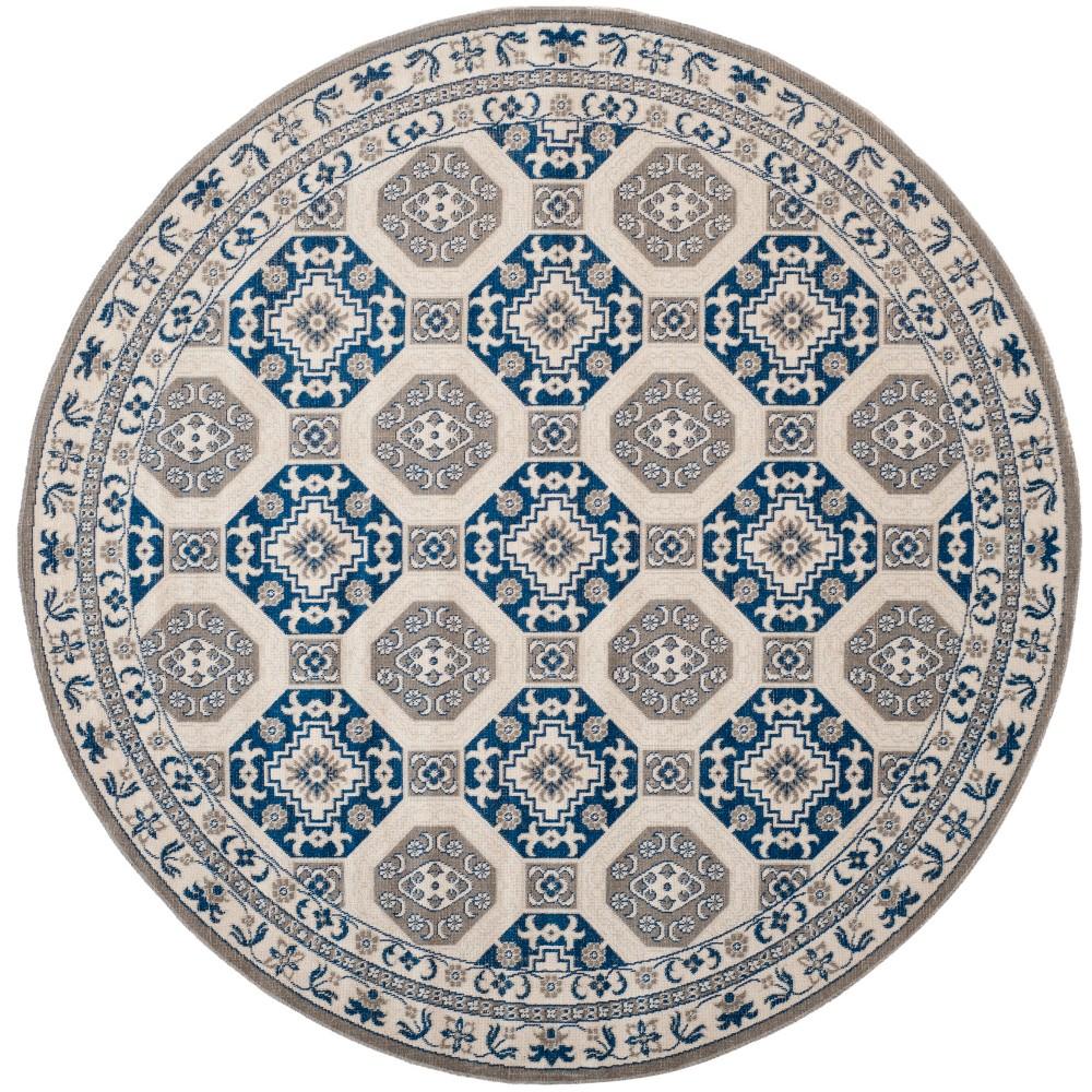 6 7 Medallion Loomed Round Area Rug Blue Ivory Safavieh