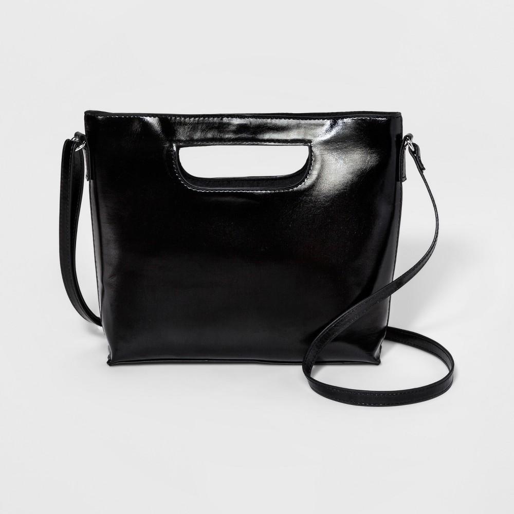 Women's Mini Cut Out Crossbody Bag - T-Shirt & Jeans Black, Size: Small