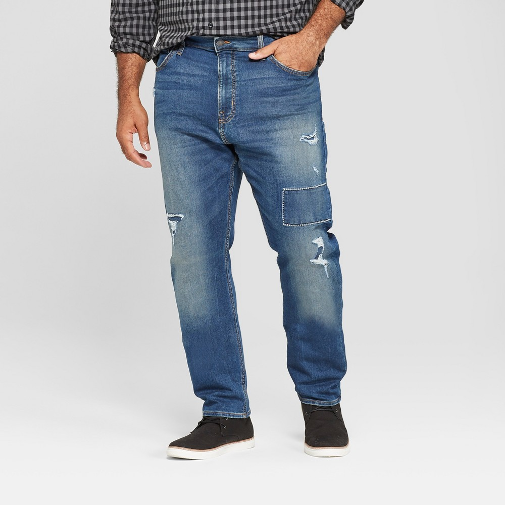 Men's Tall Taper Fit Medium Patched with Destruction Jeans - Goodfellow & Co Vintage Indigo 36x36, Blue