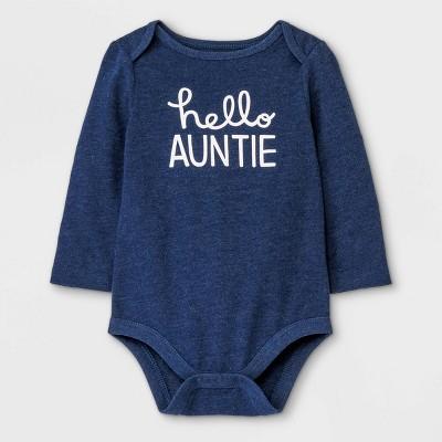 Baby Girls' 'Hello Auntie' Long Sleeve Bodysuit - Cat & Jack™ Navy